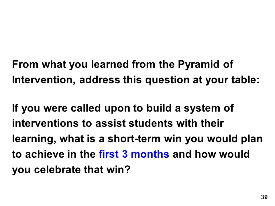 From what you learned from the Pyramid of Intervention, address this question at your table: