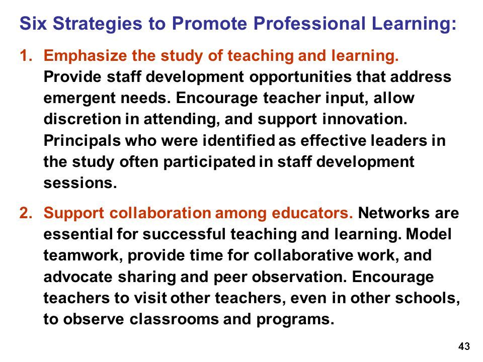 Six Strategies to Promote Professional Learning: