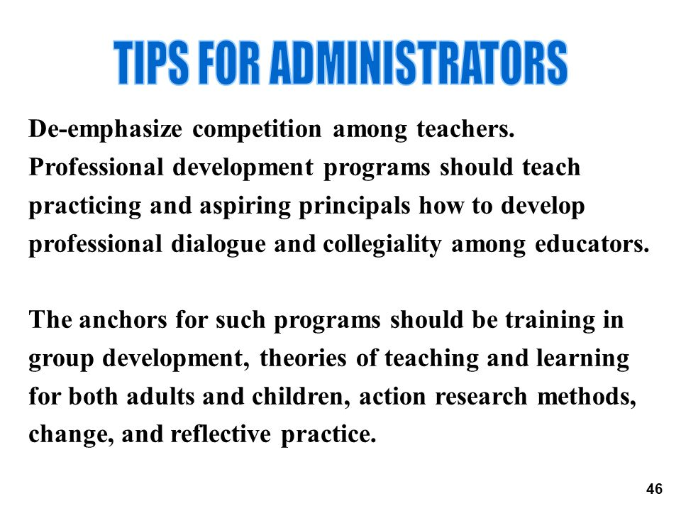 TIPS FOR ADMINISTRATORS