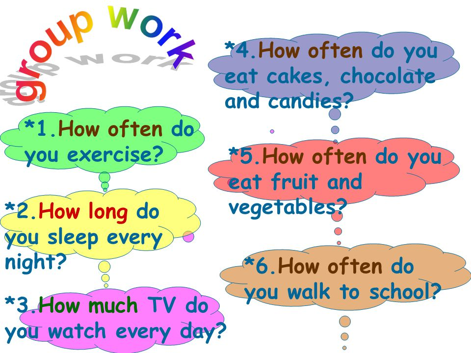 group work *4.How often do you eat cakes, chocolate and candies