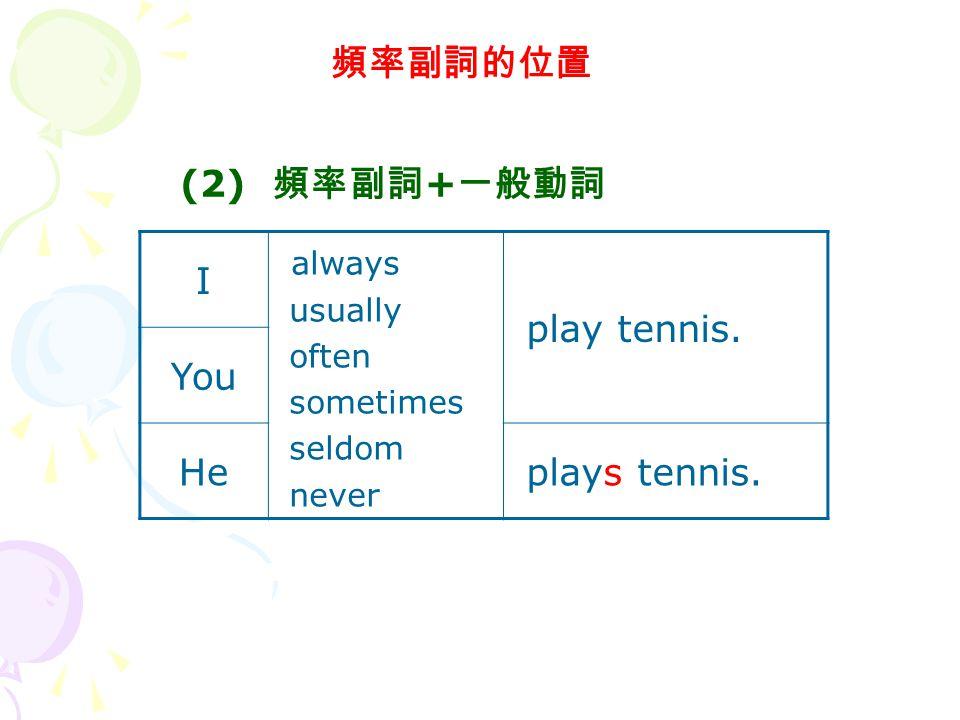 頻率副詞的位置 (2) 頻率副詞+一般動詞 I always play tennis. You He plays tennis.