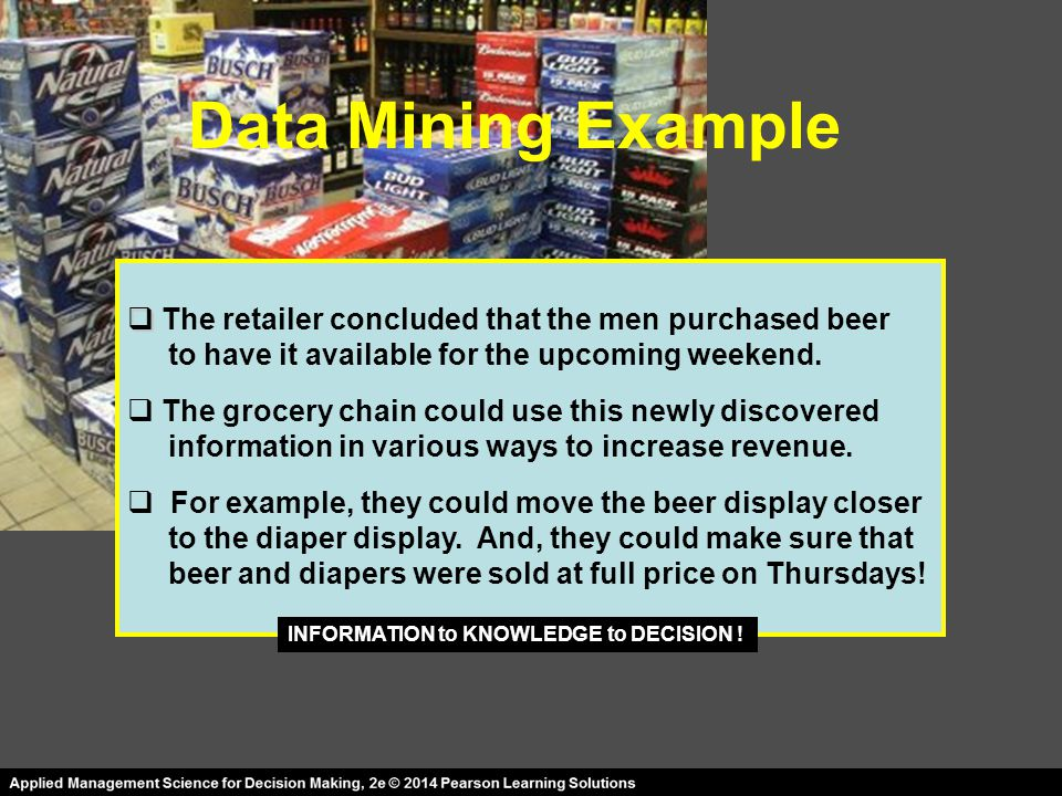 Data Mining Example The retailer concluded that the men purchased beer
