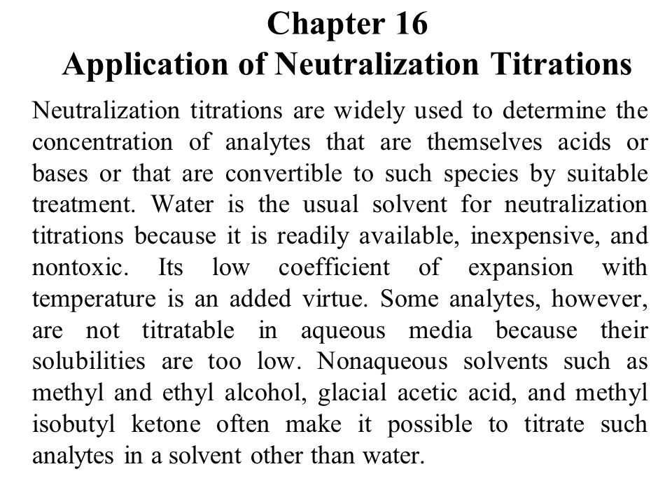 Chapter 16 Application of Neutralization Titrations