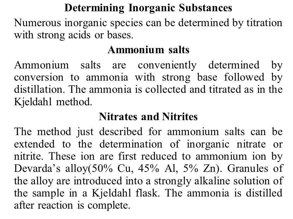 Determining Inorganic Substances