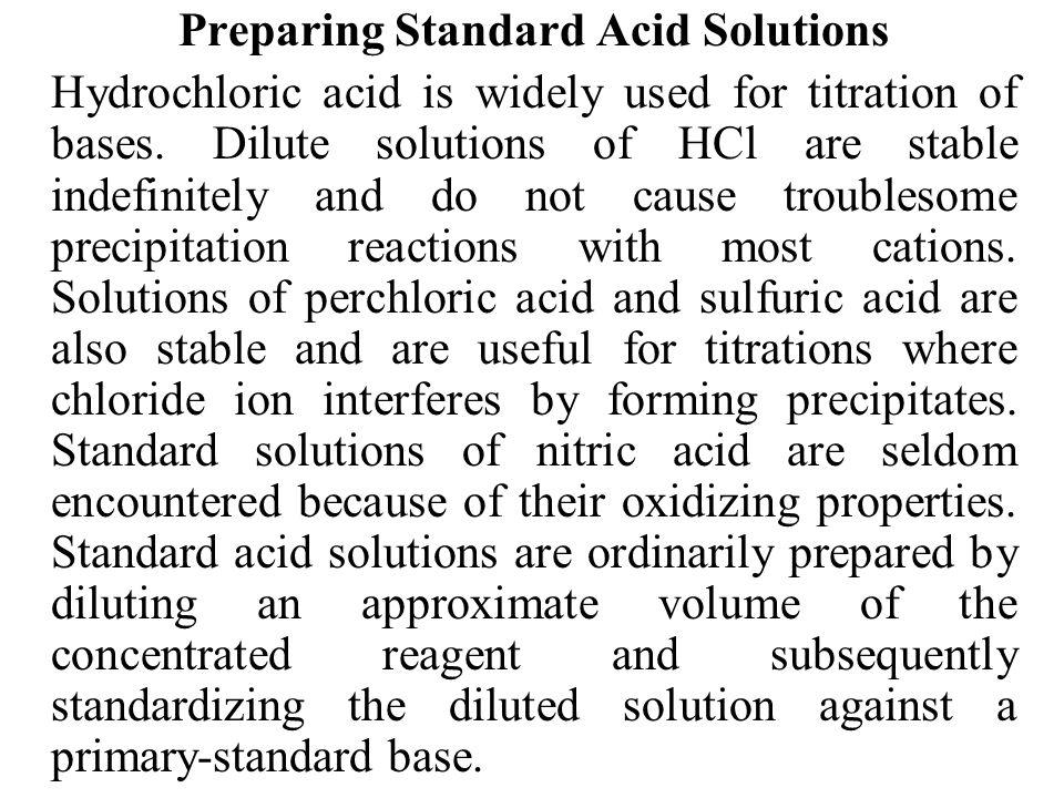 Preparing Standard Acid Solutions