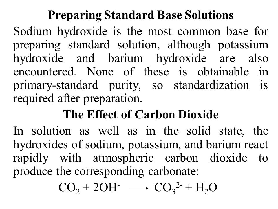 Preparing Standard Base Solutions