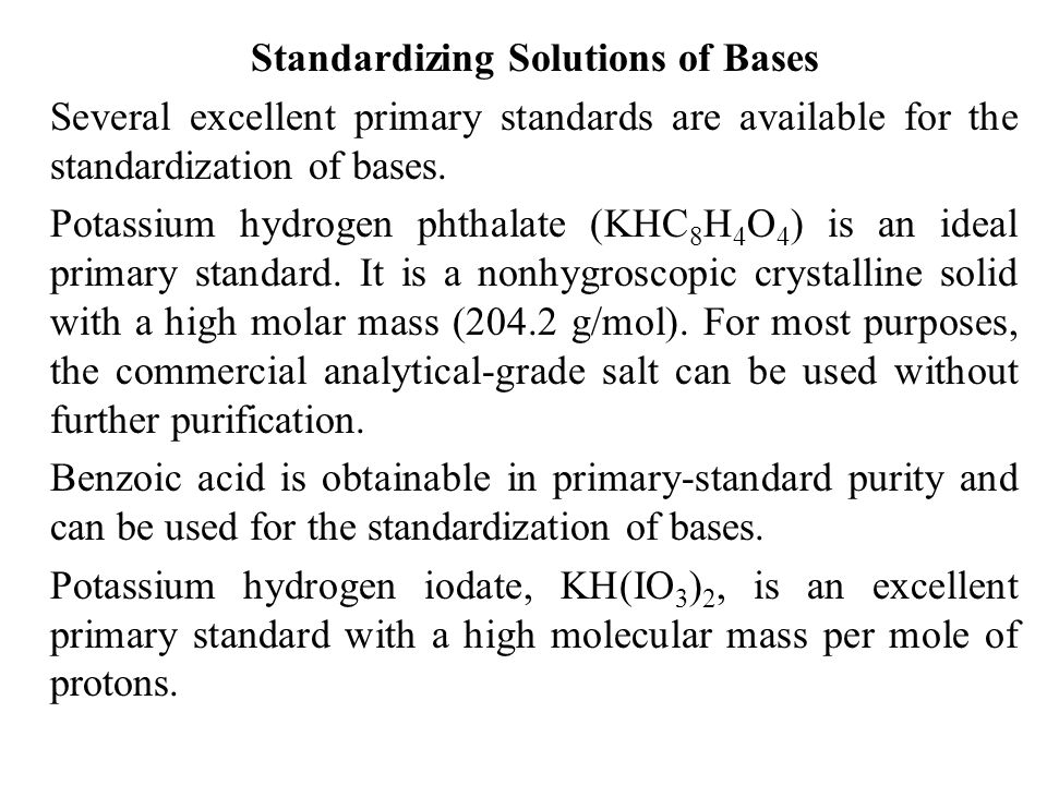 Standardizing Solutions of Bases