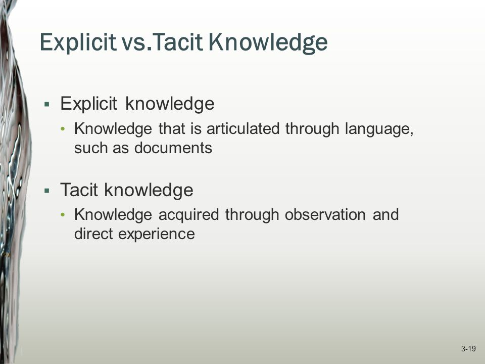 Explicit vs.Tacit Knowledge