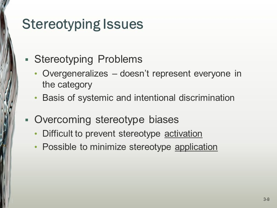 Stereotyping Issues Stereotyping Problems Overcoming stereotype biases