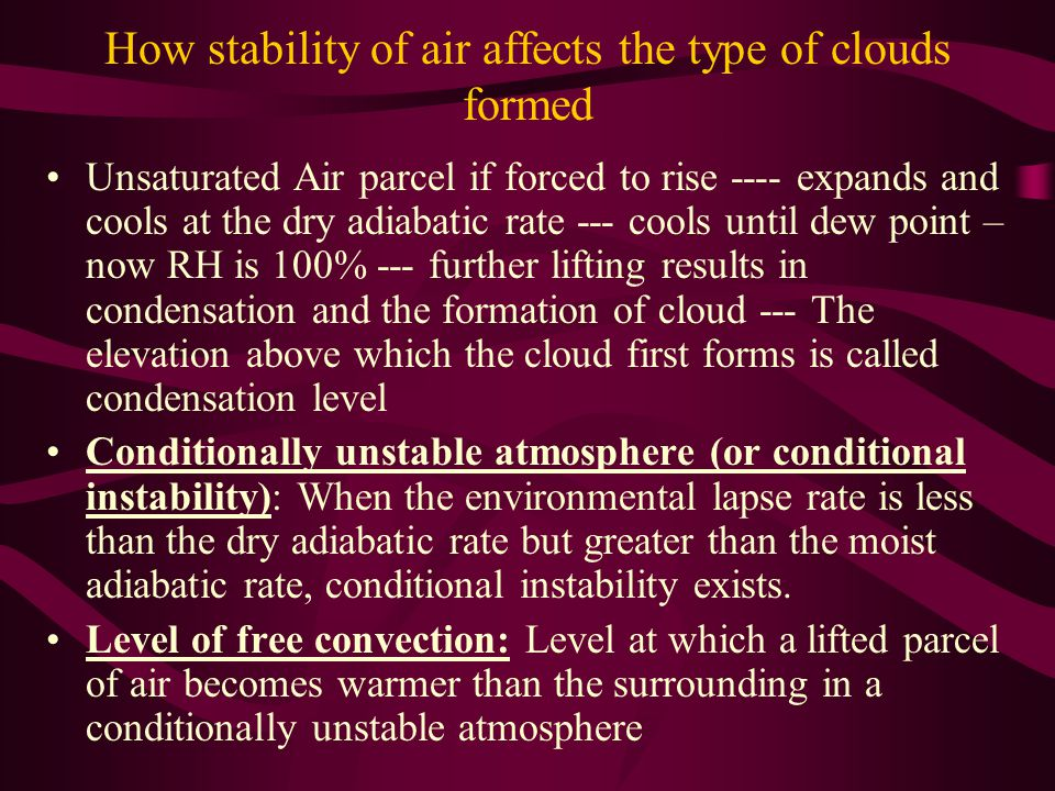 How stability of air affects the type of clouds formed