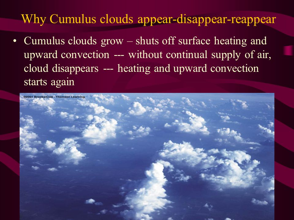Why Cumulus clouds appear-disappear-reappear