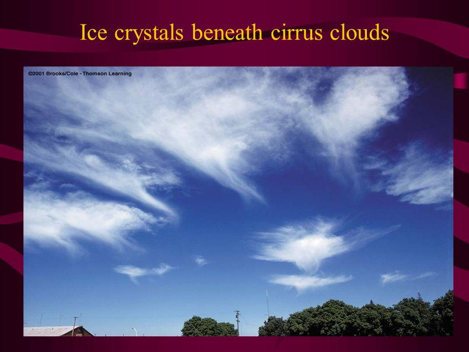 Ice crystals beneath cirrus clouds