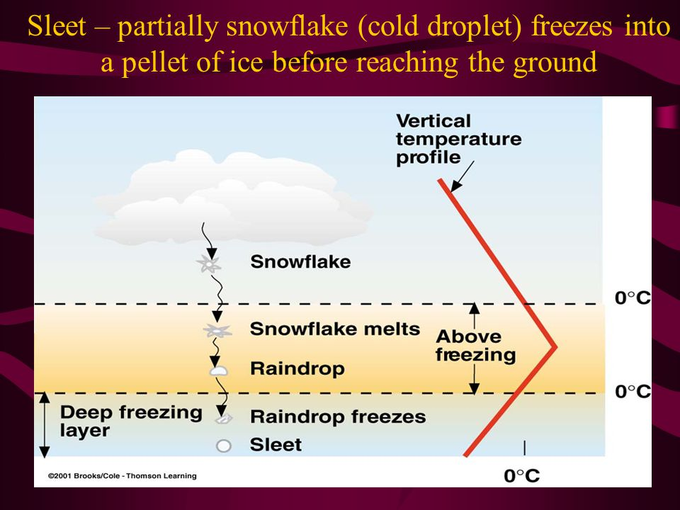 Sleet – partially snowflake (cold droplet) freezes into a pellet of ice before reaching the ground