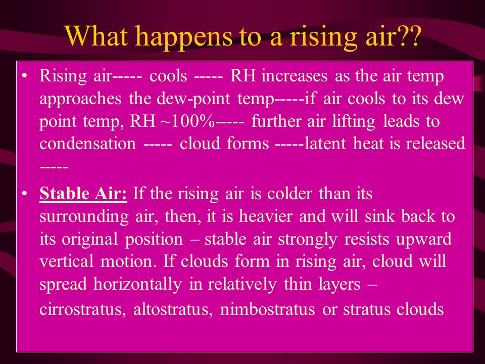 What happens to a rising air