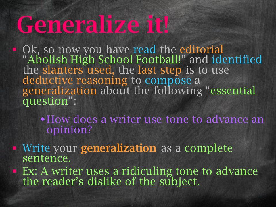 Generalize it!