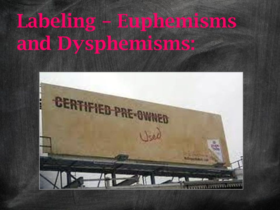 Labeling – Euphemisms and Dysphemisms:
