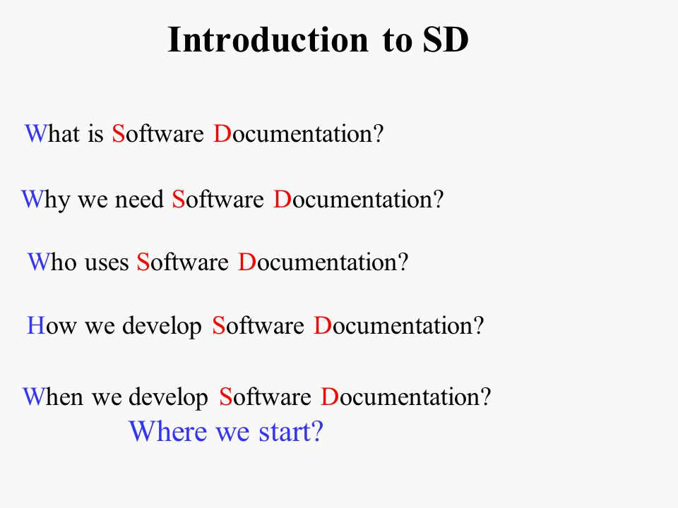 Introduction to SD What is Software Documentation