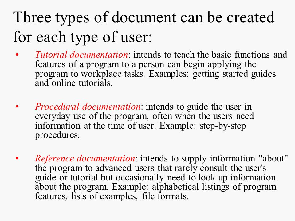 Three types of document can be created for each type of user: