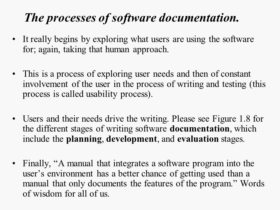 The processes of software documentation.