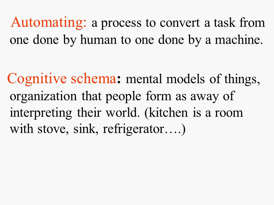 Automating: a process to convert a task from one done by human to one done by a machine.