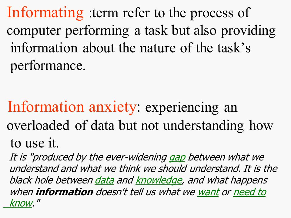 Informating :term refer to the process of computer performing a task but also providing information about the nature of the task's performance.