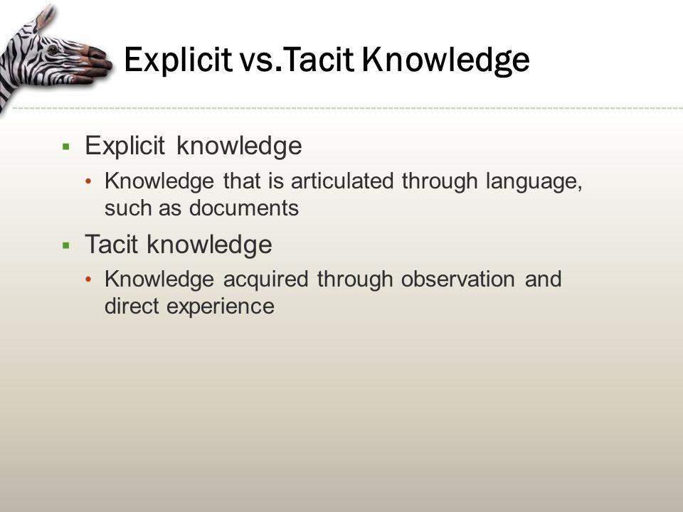 Explicit vs.Tacit Knowledge