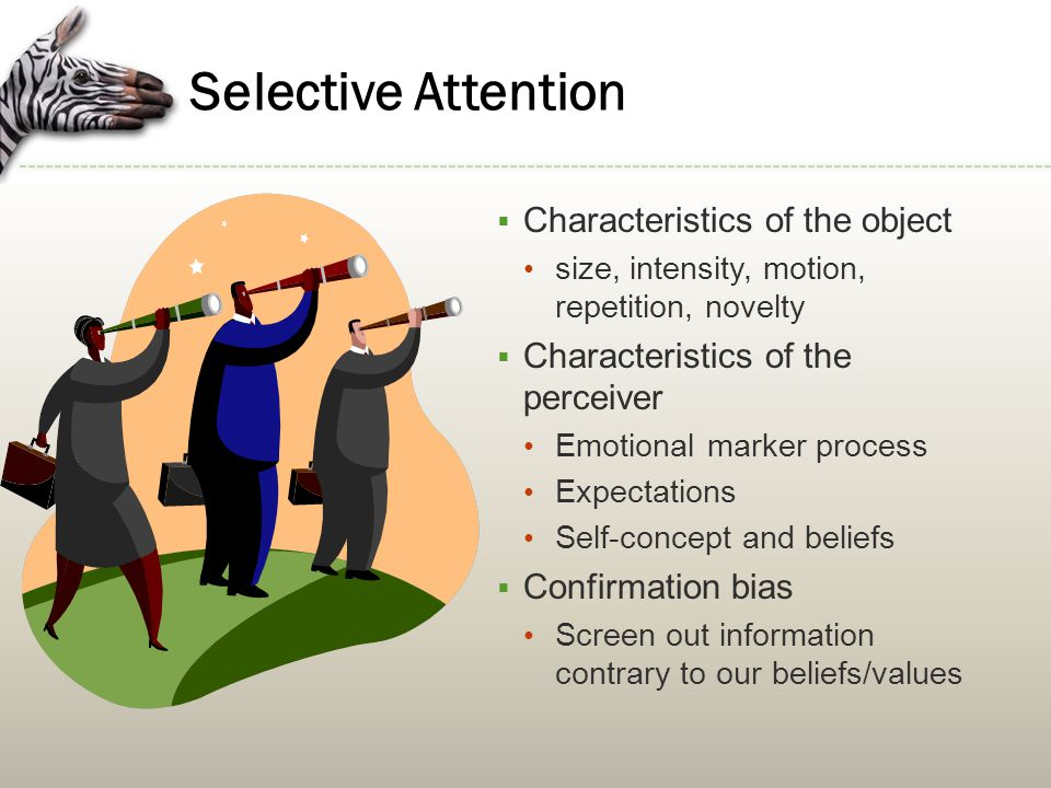 Selective Attention Characteristics of the object