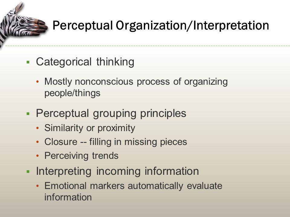 Perceptual Organization/Interpretation