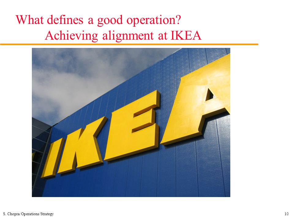 What defines a good operation Achieving alignment at IKEA