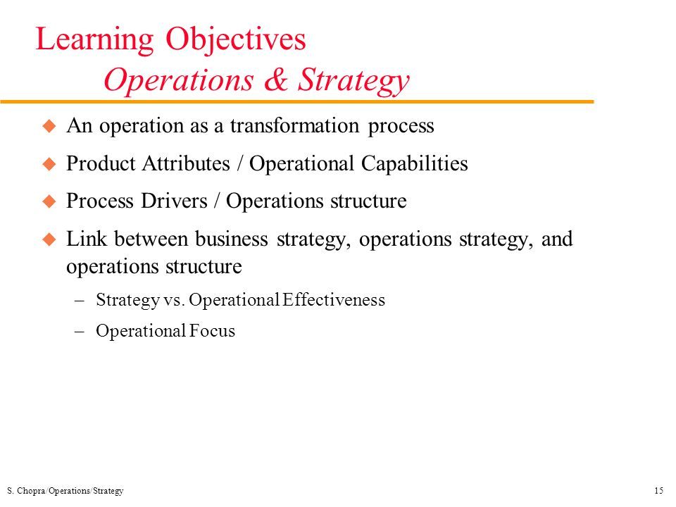 Learning Objectives Operations & Strategy