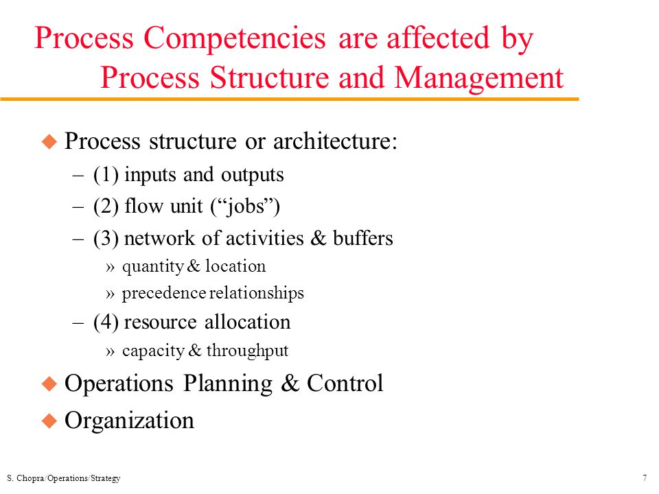 Process Competencies are affected by Process Structure and Management
