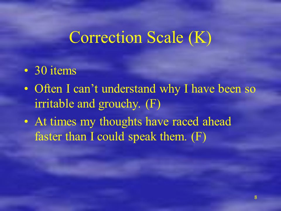 Correction Scale (K) 30 items