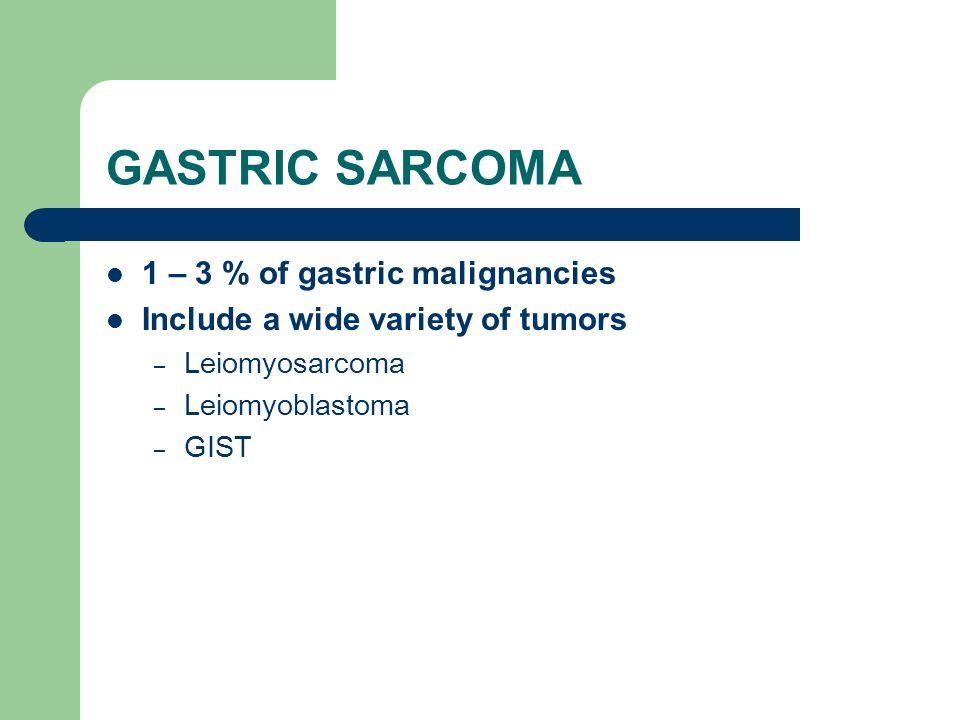 GASTRIC SARCOMA 1 – 3 % of gastric malignancies