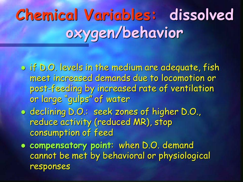 Chemical Variables: dissolved oxygen/behavior
