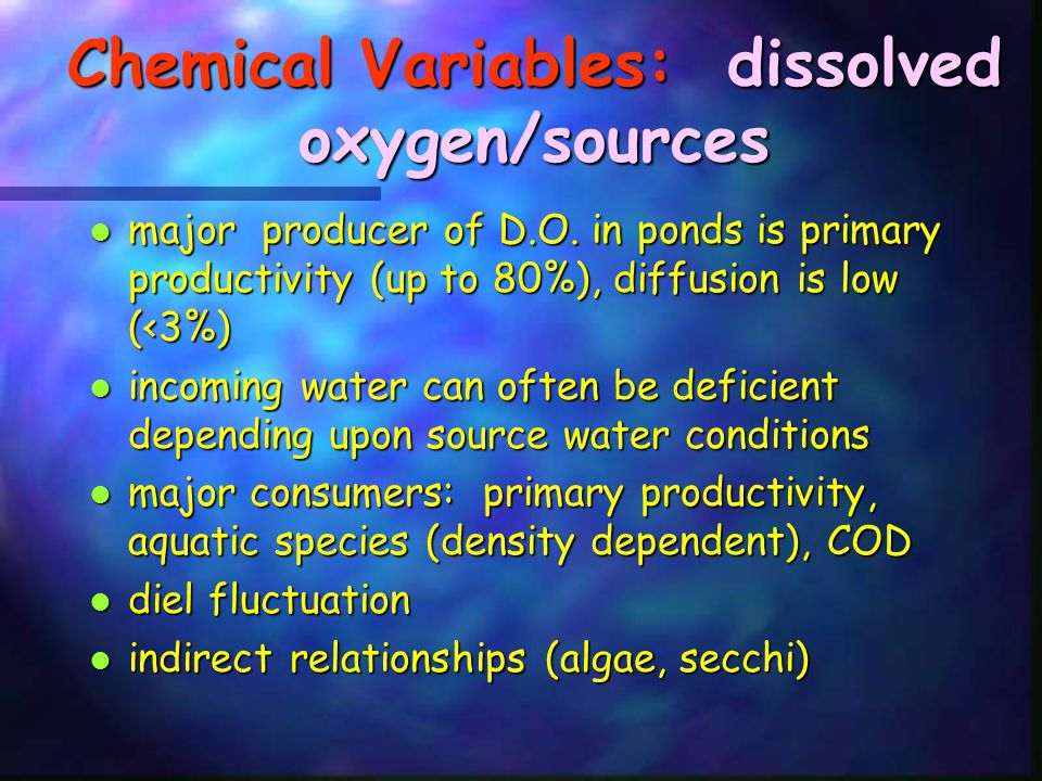 Chemical Variables: dissolved oxygen/sources