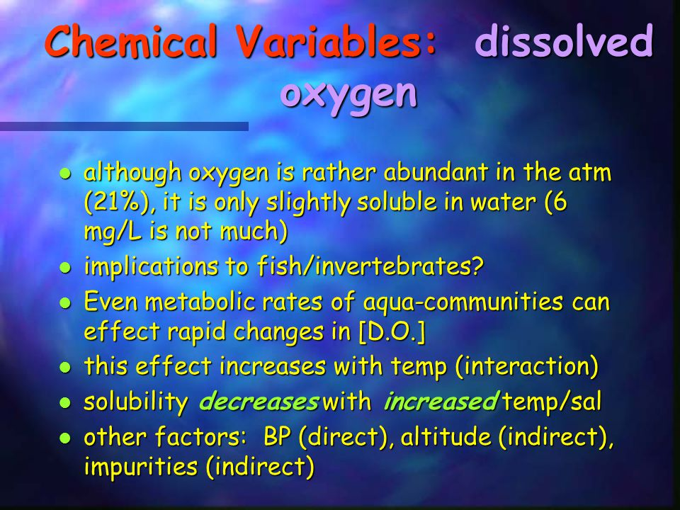 Chemical Variables: dissolved oxygen