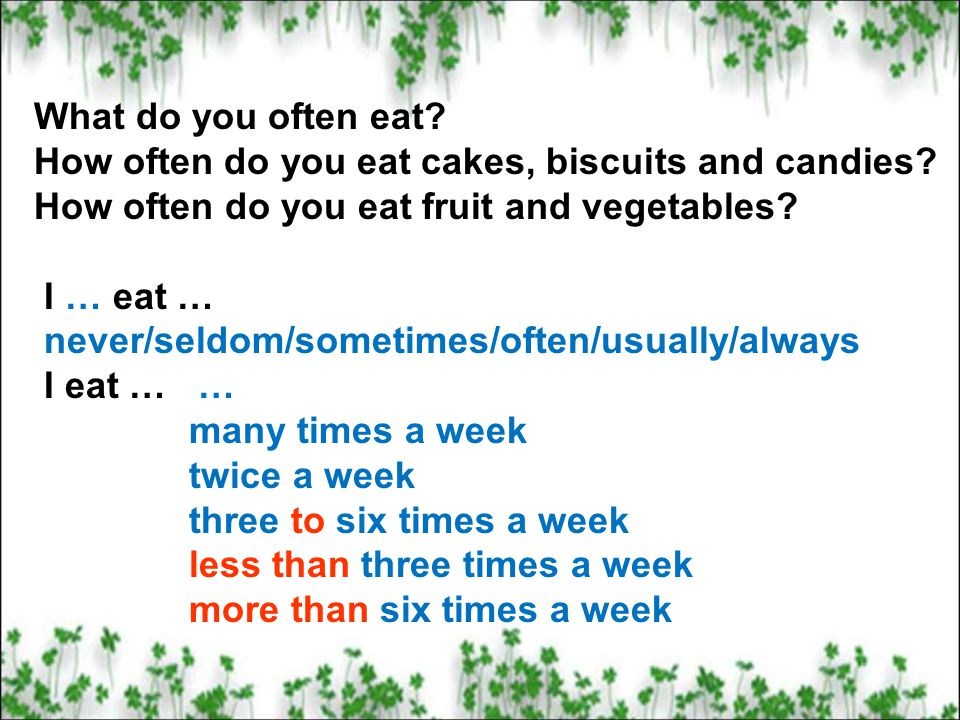What do you often eat How often do you eat cakes, biscuits and candies How often do you eat fruit and vegetables