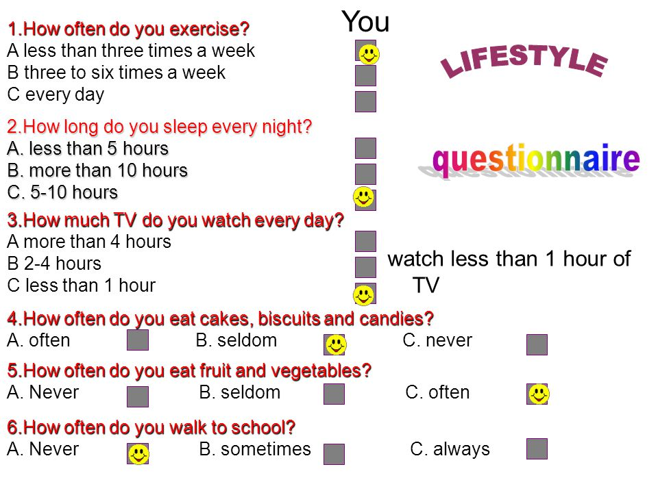 You LIFESTYLE questionnaire watch less than 1 hour of TV