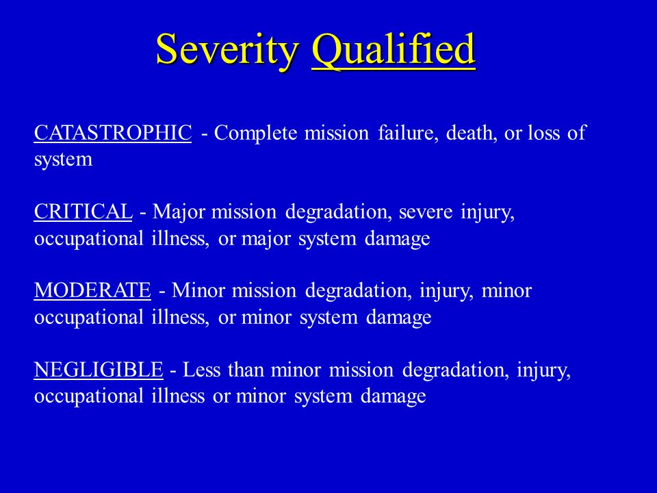 Severity Qualified CATASTROPHIC - Complete mission failure, death, or loss of system.