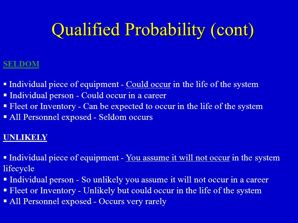 Qualified Probability (cont)