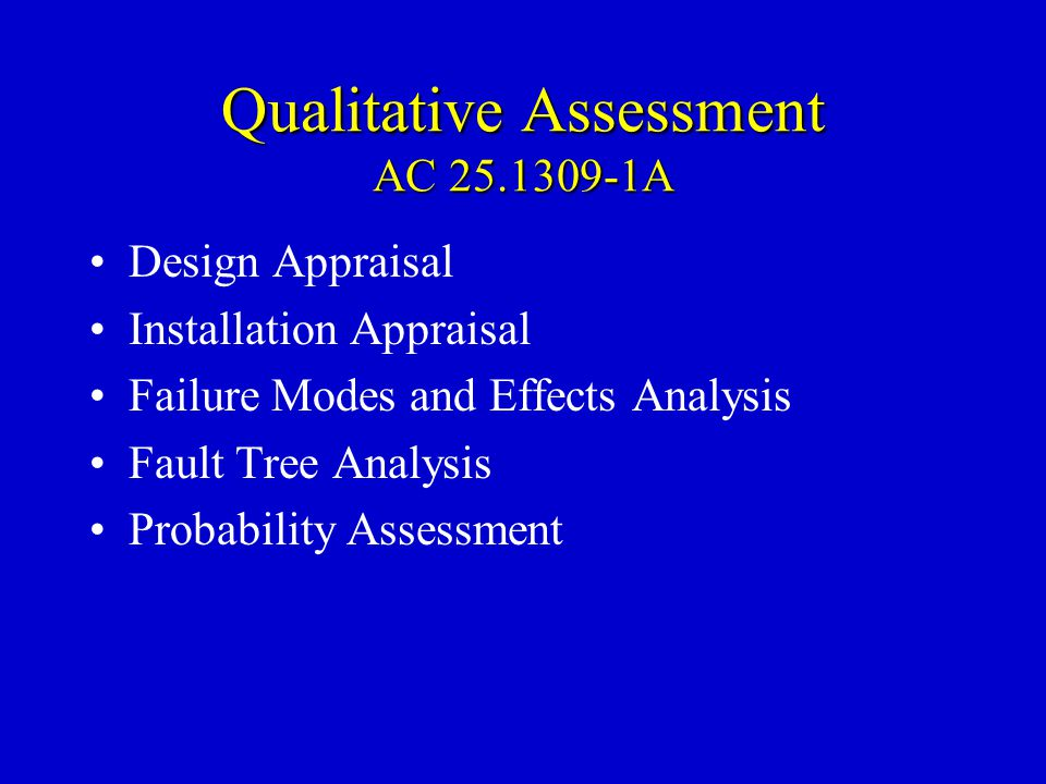 Qualitative Assessment AC 25.1309-1A