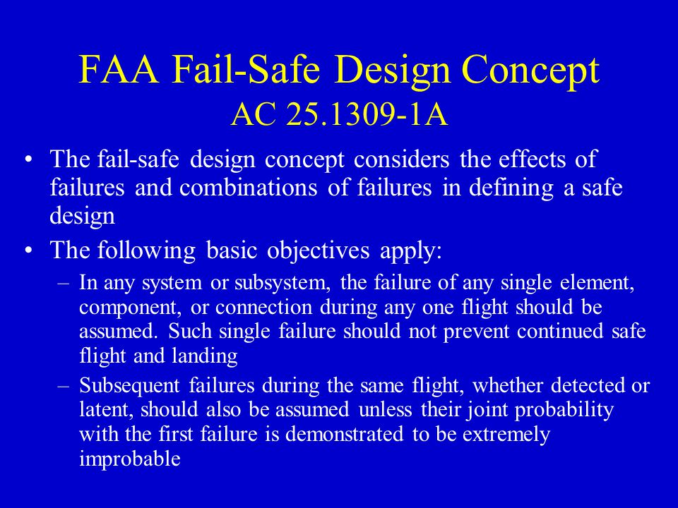 FAA Fail-Safe Design Concept AC 25.1309-1A