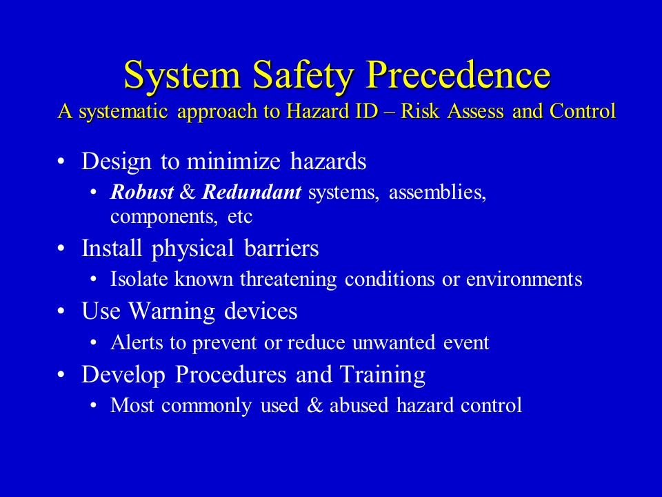 System Safety Precedence A systematic approach to Hazard ID – Risk Assess and Control