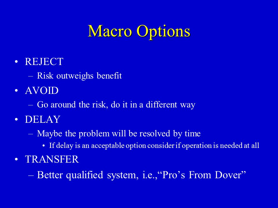 Macro Options REJECT AVOID DELAY TRANSFER