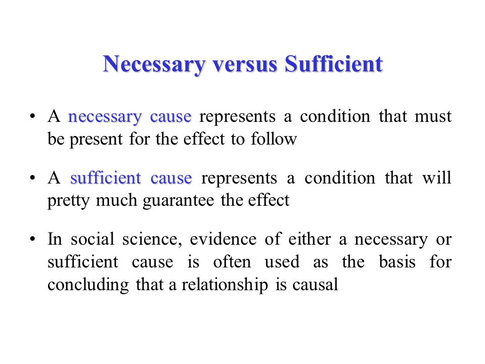 Necessary versus Sufficient