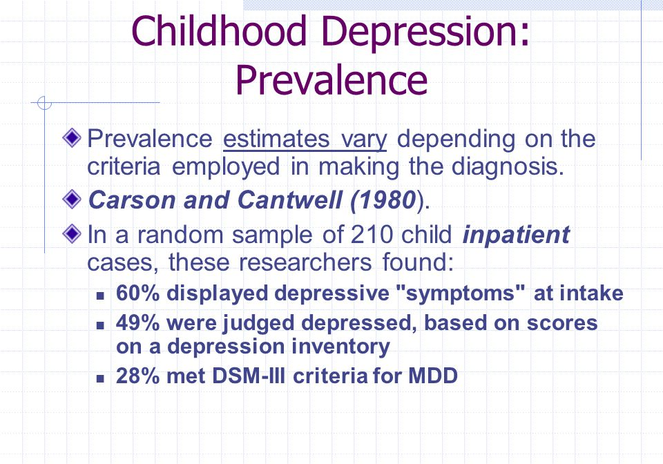 Childhood Depression: Prevalence