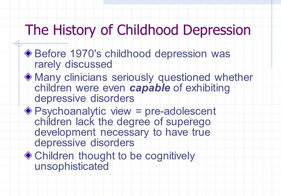 The History of Childhood Depression