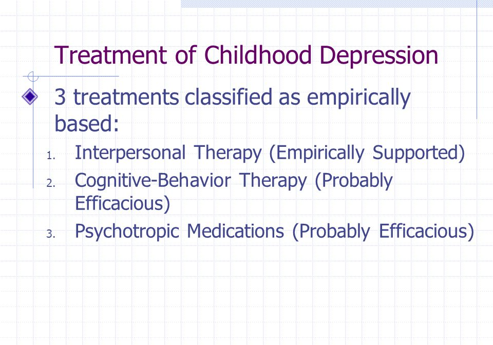 Treatment of Childhood Depression
