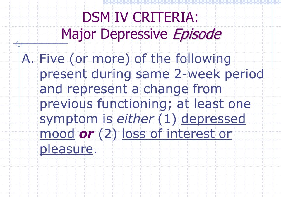DSM IV CRITERIA: Major Depressive Episode
