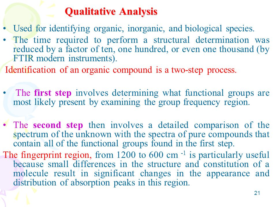 Qualitative Analysis Used for identifying organic, inorganic, and biological species.